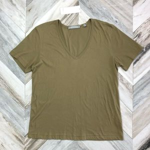 NWT Vince Pima Cotton V-Neck Tee Large Army Green